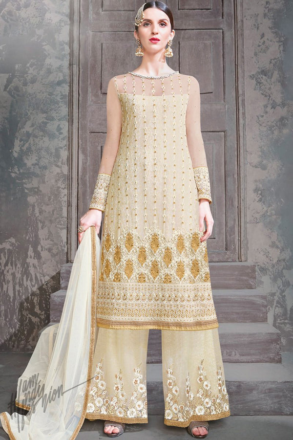 Cream Net Party Wear Palazzo Suit