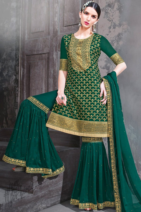 Forest Green Rangoli Georgette Party Wear Palazzo Suit