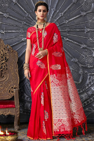 Red Kanthkala Silk Saree