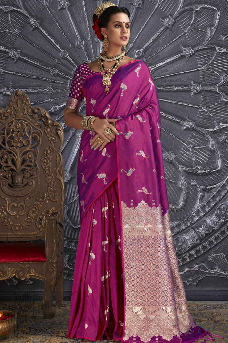 Purple Kanthkala Silk Saree