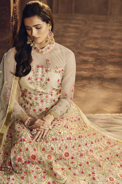Cream Butterfly Net Anarkali Suit