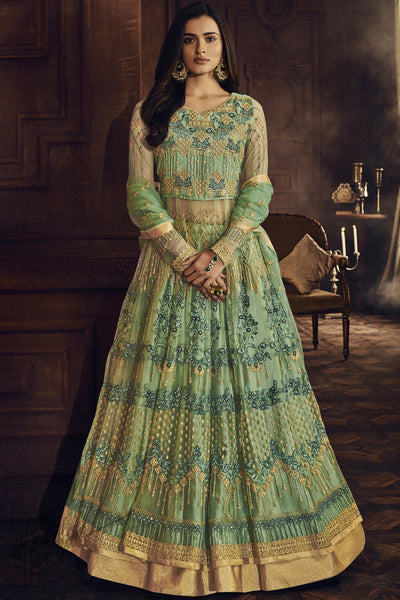Green Butterfly Net Anarkali Suit
