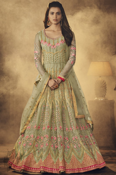 Light Olive Green Butterfly Net Anarkali Suit