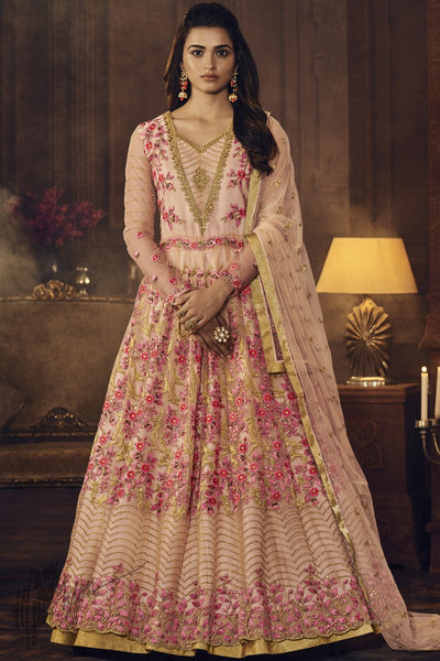 Baby Pink Butterfly Net Anarkali Suit