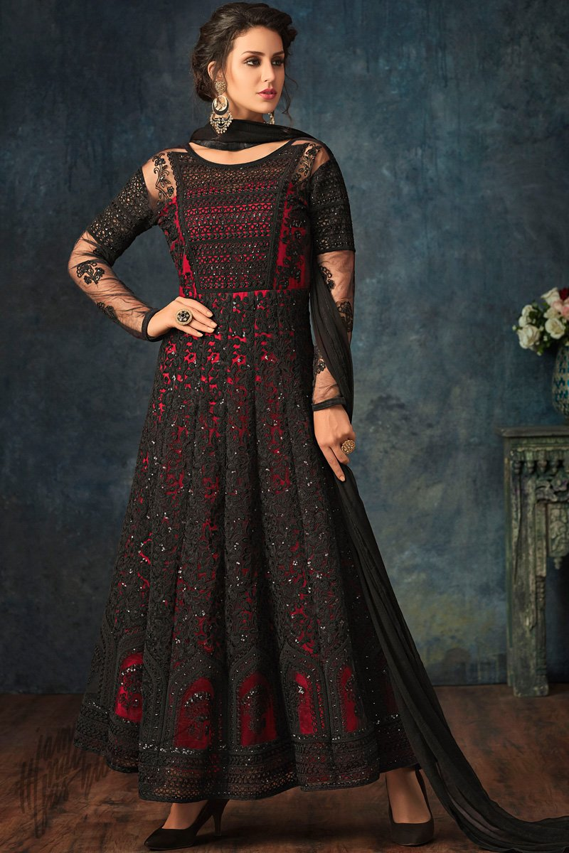 Black and Red Net Party Wear Anarkali Suit