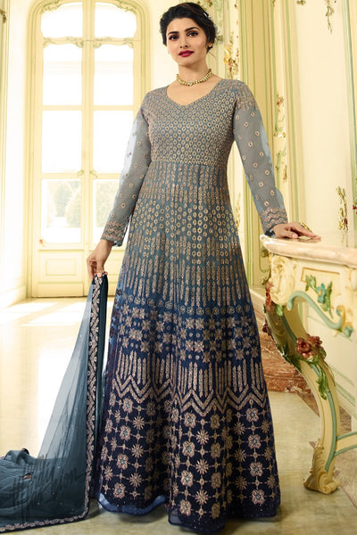 Pigeon and Denim Blue Shaded Net Ankle Length Anarkali Suit