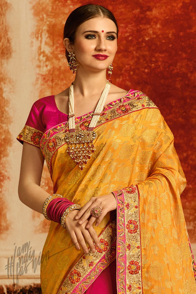 Yellow and Hot Pink Half and Half Jacquard Party Wear Saree