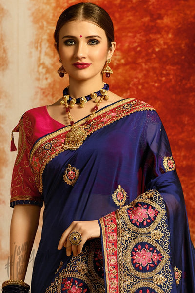 Navy Blue and Magenta Silk Party Wear Saree
