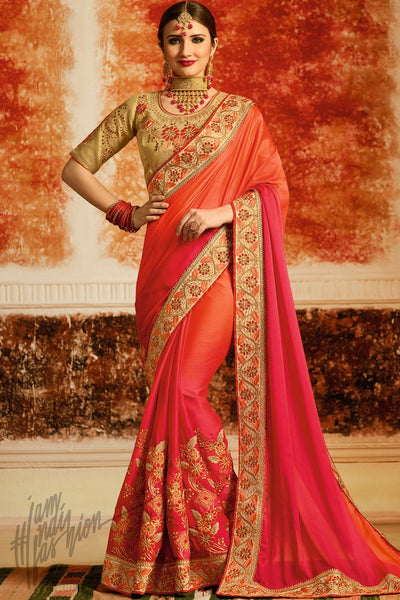 Beige Peach and Pink Ombre Silk Party Wear Saree