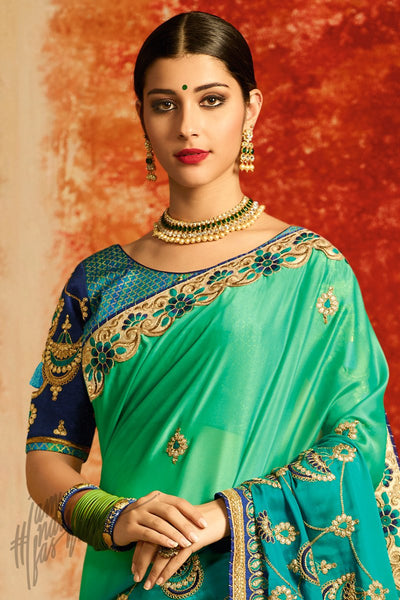 Blue and Green Ombre Silk Party Wear Saree