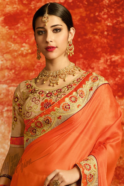 Beige and Peach half and Half Silk Party Wear Saree
