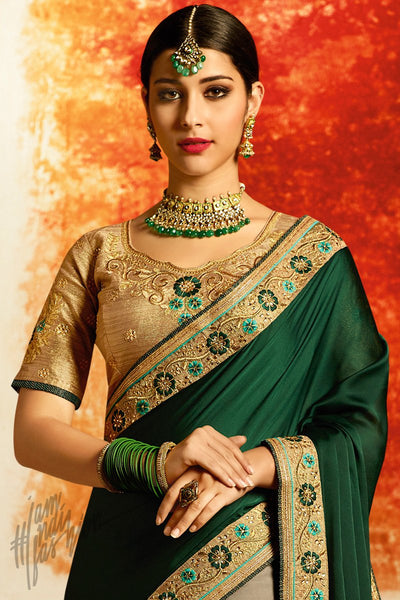 Gold Green and Gray Half and Half Georgette and Silk Party Wear Saree