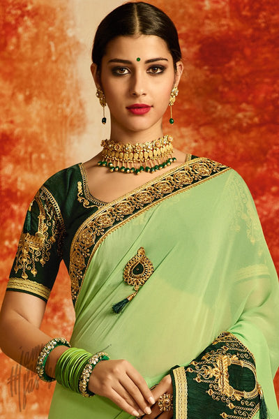 Mint and Bottle Green Georgette and Silk Party Wear Saree
