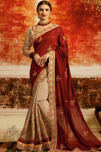 Maroon and Beige Half and Half Silk Party Wear Saree