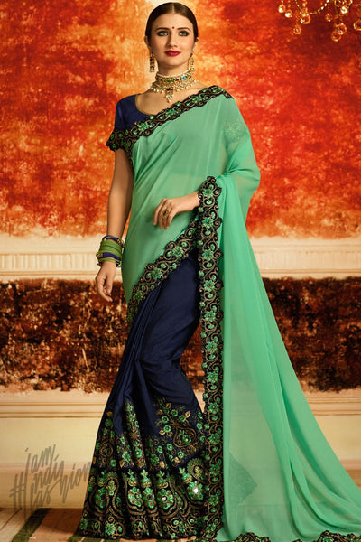 Sea Green and Blue Half and Half Georgette Party Wear Saree
