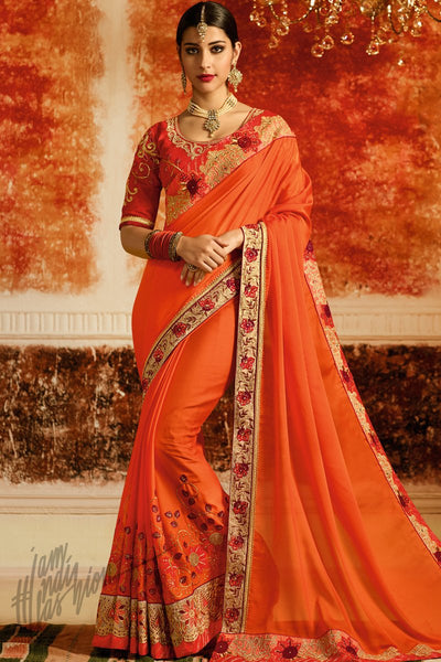 Orange and Red Silk Party Wear Saree
