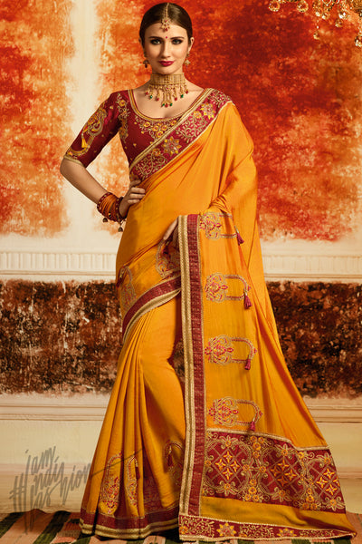 Mustard and Maroon Silk Party Wear Saree