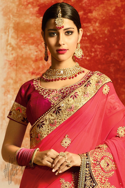 Pink and Dark Magenta Georgette Party Wear Saree