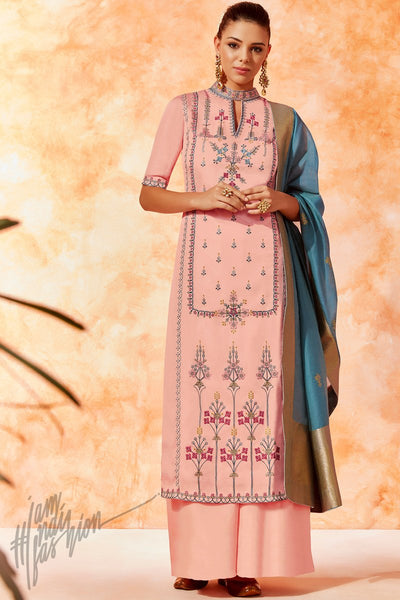 Light Pink and Blue Dola Silk Palazzo Suit