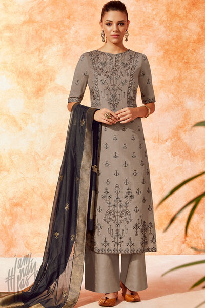 Gray and Black Dola Silk Palazzo Suit