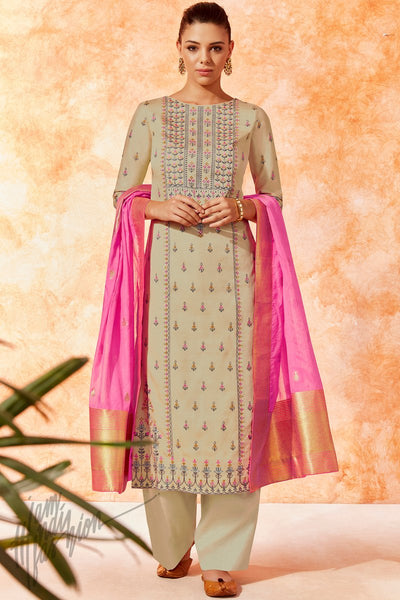 Beige and fuchsia Pink Dola Silk Palazzo Suit