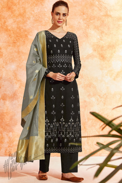 Black and Gray Dola Silk Palazzo Suit