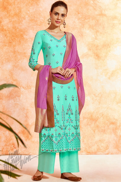 Tiffany Blue and Purple Dola Silk Palazzo Suit