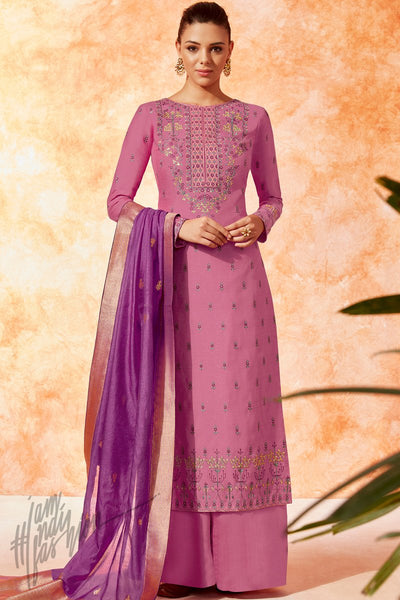 Pale Violet Red and Dark Orchid Dola Silk Palazzo Suit