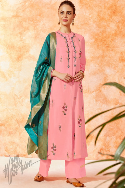 Pink and Teal Dola Silk Palazzo Suit
