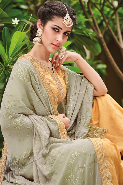 Mustard Yellow and Gray Dola Silk Sharara Suit