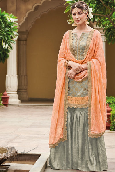 Gray and Peach Dola Silk Sharara Suit