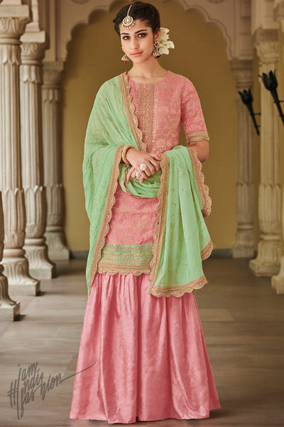 Pink and Parrot Green Dola Silk Sharara Suit