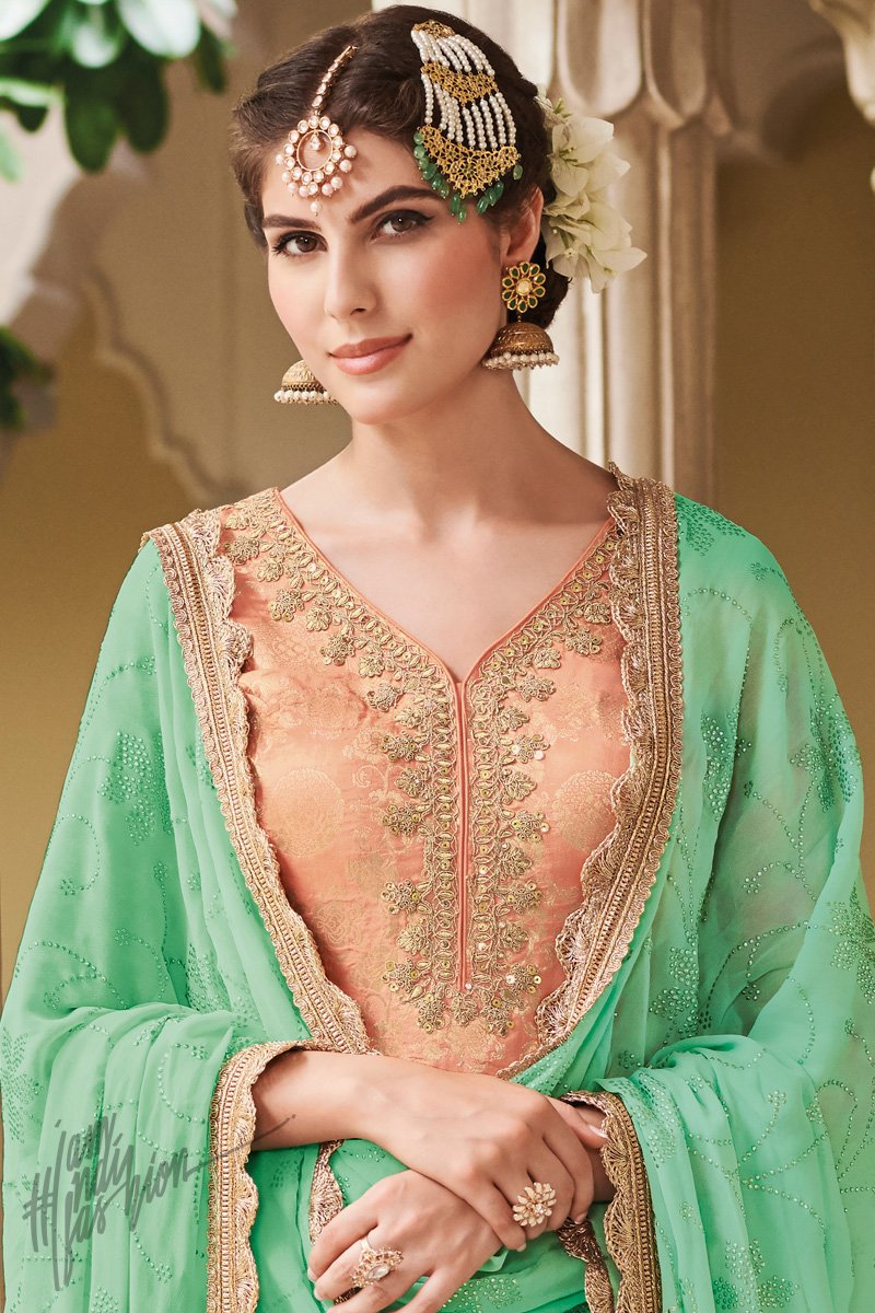 Peach and Green Dola Silk Sharara Suit