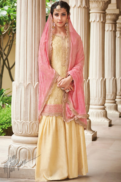 Golden Yellow and Pink Dola Silk Sharara Suit