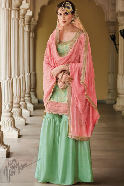 Green and Pink Dola Silk Sharara Suit