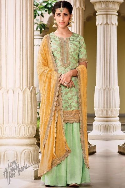Green and Yellow Dola Silk Sharara Suit