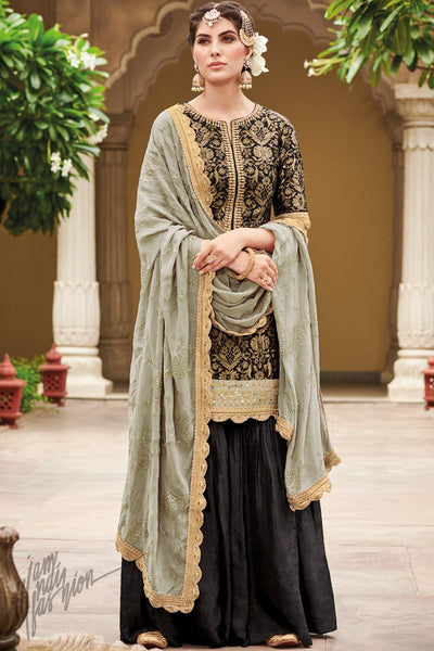 Black and Gray Dola Silk Sharara Suit