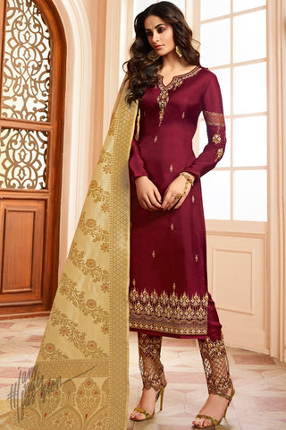 Maroon and Gold Barfi Silk Suit With Banarasi Dupatta