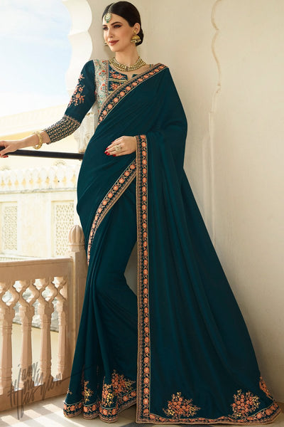 Navy Blue and Light Olive Barfi Silk Wedding Saree