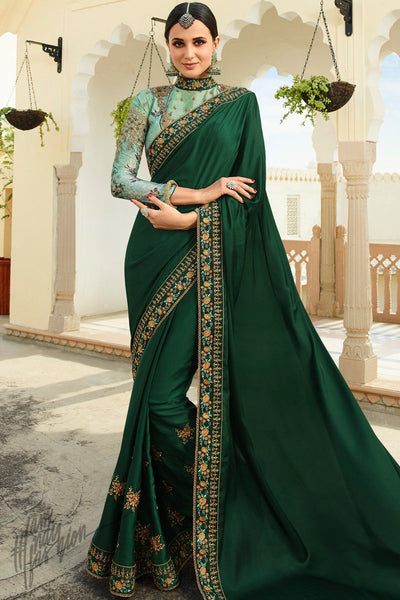 Dark Green and Light Turquoise Barfi Silk Wedding Saree