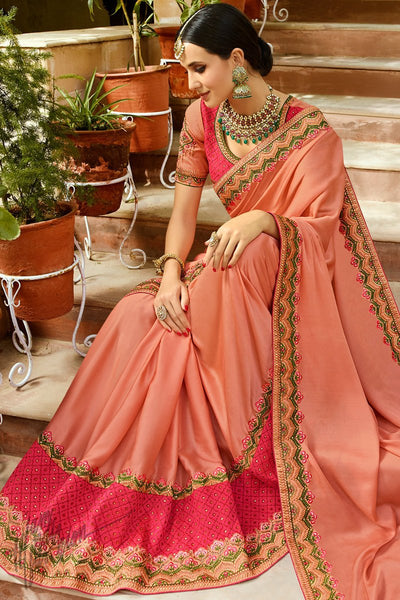 Dark Peach and Pink Barfi Silk Wedding Saree