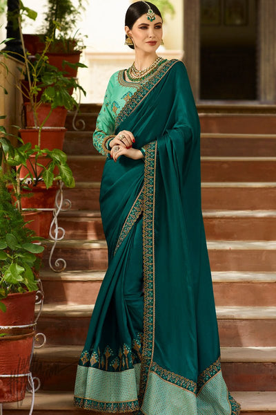 Blue Green and Turquoise Barfi Silk Wedding Saree