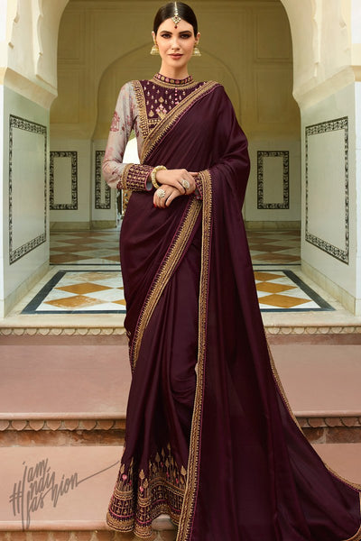 Wine and Beige Barfi Silk Wedding Saree