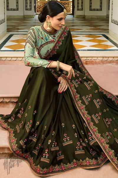 Dark Olive and Pista Green Barfi Silk Wedding Saree