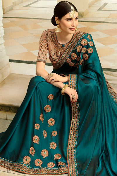 Dark Teal Blue and Peach Barfi Silk Wedding Saree