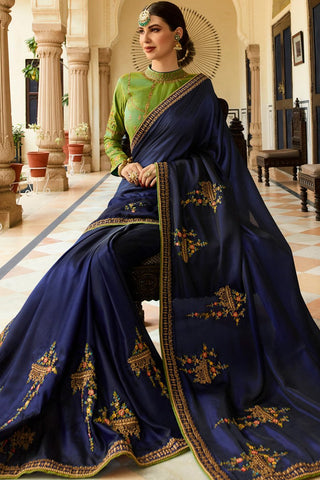 Royal Blue and Green Barfi Silk Wedding Saree