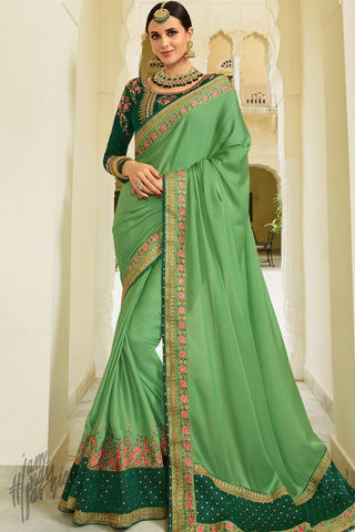 Parrot and Dark Green Barfi Silk Wedding Saree