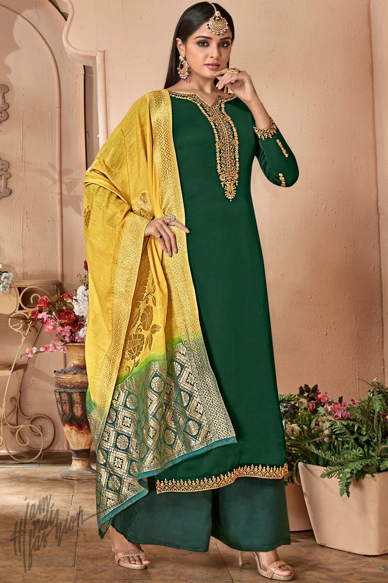 Dark Green and Yellow Green Satin Georgette Palazzo Suit