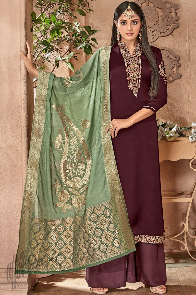 Wine and Olive Green Satin Georgette Palazzo Suit