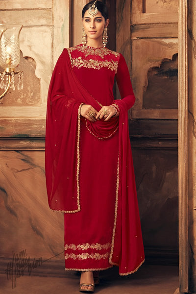 Red Falcon Velvet Party Wear Suit